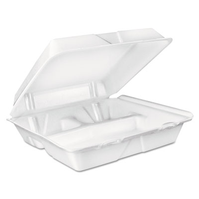 Large foam carryout, food container, 3-compartment, white, 9-2/5x9x3, sold as 1 carton, 200 each per carton