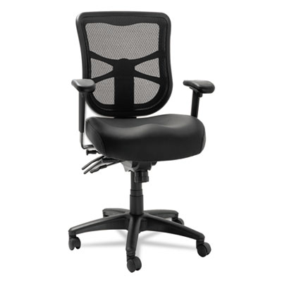 Elusion series mesh mid-back multifunction chair, black leather, sold as 1 each