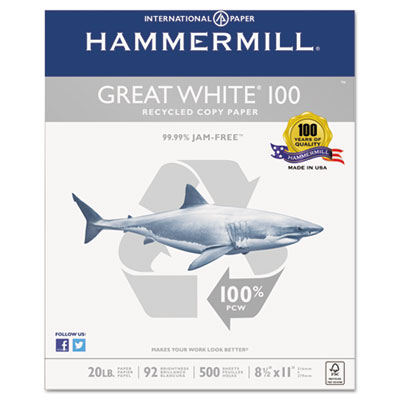 Great white 100 recycled copy paper, 20lb, 8-1/2 x 11, white, 5,000 sheet/carton, sold as 1 carton, 10 ream per carton