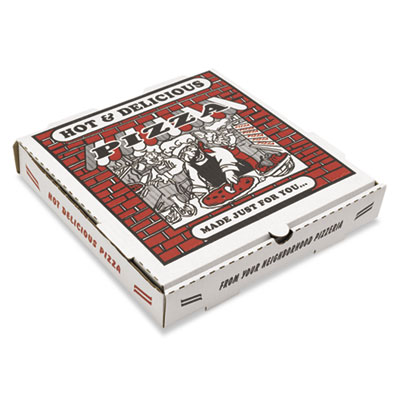 Takeout containers, 14in pizza, white, 14w x 14d x 2 1/2h, 50/bundle, sold as 1 carton, 50 each per carton