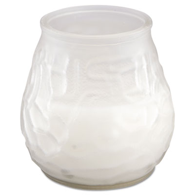 "Victorian filled glass candles, 60 hour burn, 3 3/4""h, frost white, sold as 1 carton, 12 each per carton"