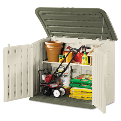 Large horizontal outdoor storage shed, 57 x 32 x 47, olive green/sandstone, sold as 1 each