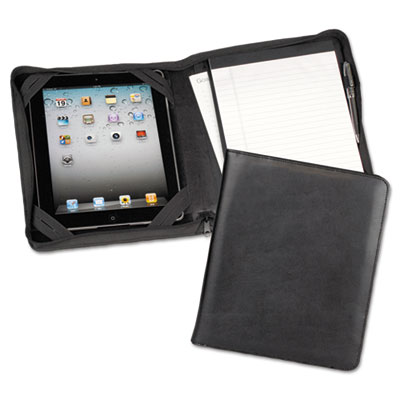 Ipad zipper composition padfolio, leather, black, sold as 1 each