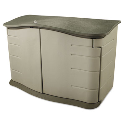 Horizontal outdoor storage shed, 55 x 28 x 36, 20 cu. ft., olive green/sandstone, sold as 1 each