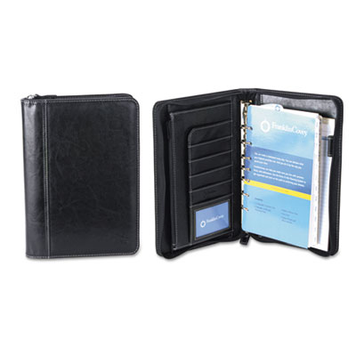 Ring bound binder organizer set, zip-around closure, 10 1/4 x 7 1/4, black, 2016, sold as 1 each