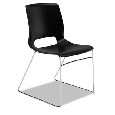 Motivate seating high-density stacking chair, onyx/chrome, 4/carton, sold as 1 carton, 4 each per carton