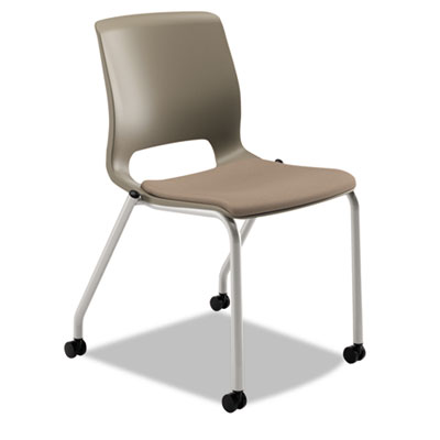 Motivate seating upholstered 4-leg stacking chair, shadow/morel/platinum, 2/ct, sold as 1 carton, 2 each per carton