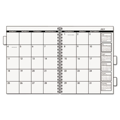 Three/five-year monthly planner refill, 9 x 11, white, 2018, sold as 1 each