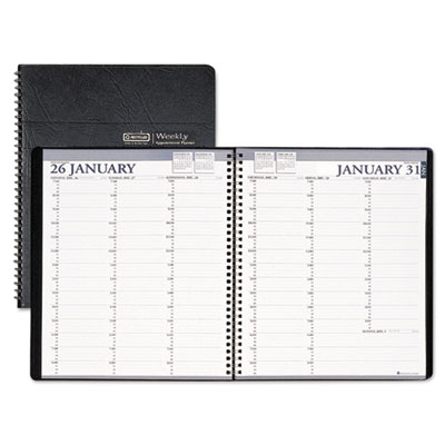 Two-year professional weekly planner, 15-min. appts., 8-1/2 x 11, blk, 2016-2017, sold as 1 each