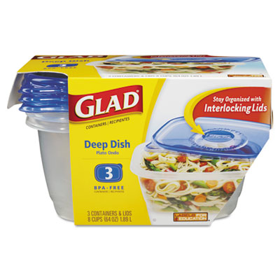 Gladware deep dish food storage containers, 64 oz, 3/pack, sold as 1 package