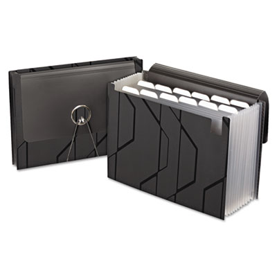 Sliding cover expanding file, 13 pockets, 1/6 tab, letter, black, sold as 1 each