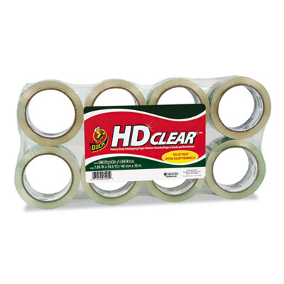 """Heavy-duty carton packaging tape, 1.88"""" x 55 yards, clear, 8/pack, sold as 1 package"""