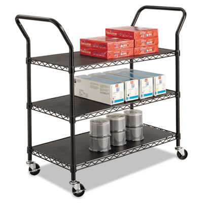 Wire utility cart, three-shelf, 43-3/4w x 19-1/4d x 40-1/2h, black, sold as 1 each