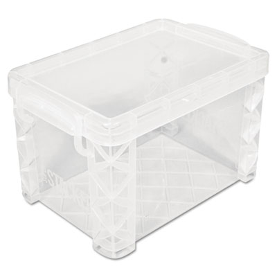Super stacker storage boxes, hold 500 4 x 6 cards, plastic, clear, sold as 1 each