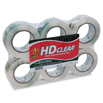 """Heavy-duty carton packaging tape, 1.88"""" x 110 yards, clear, 6/pack, sold as 1 package"""