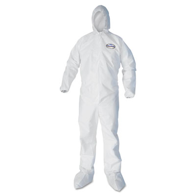 A40 elastic-cuff hood & boot coveralls, white, 2x-large, 25/carton, sold as 1 carton, 25 each per carton