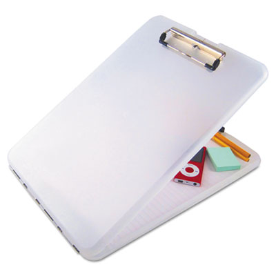 "Slimmate storage clipboard, 1/2"" capacity, holds 8 1/2w x 12h, clear, sold as 1 each"