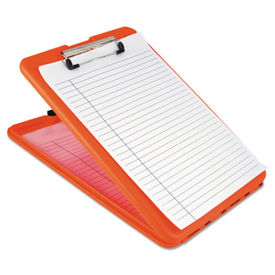 "Slimmate storage clipboard, 1/2"" capacity, holds 8 1/2w x 12h, safety orange, sold as 1 each"