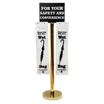 Wet umbrella bag stand, 16w x 12d x 54-1/2h, brass-plated metal, sold as 1 each