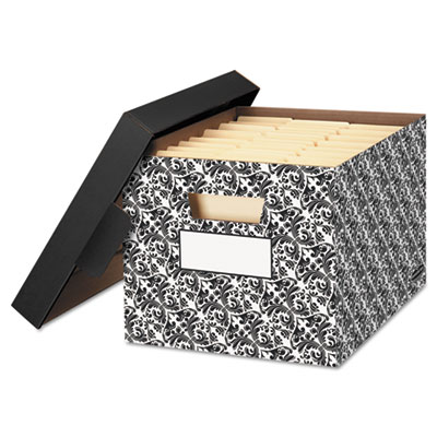 Stor/file decorative medium-duty storage boxes, letter/lgl, black/white brocade, sold as 1 carton, 4 each per carton