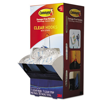 Clear hooks & strips, plastic, medium, 50 hooks w/50 adhesive strips per carton, sold as 1 carton, 50 each per carton