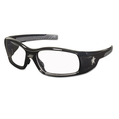 Swagger safety glasses, black frame, clear lens, sold as 1 each