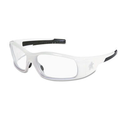 Swagger safety glasses, white frame, clear lens, sold as 1 each