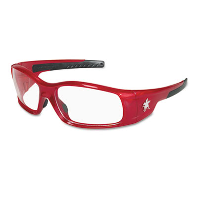 Swagger safety glasses, red frame, clear lens, sold as 1 each