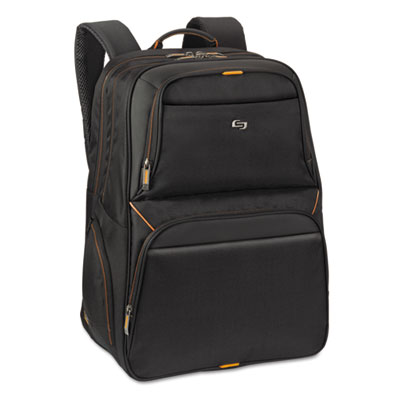 "Urban backpack, 17.3"", 11 3/4 x 8 x 17 1/2, black/orange, sold as 1 each"