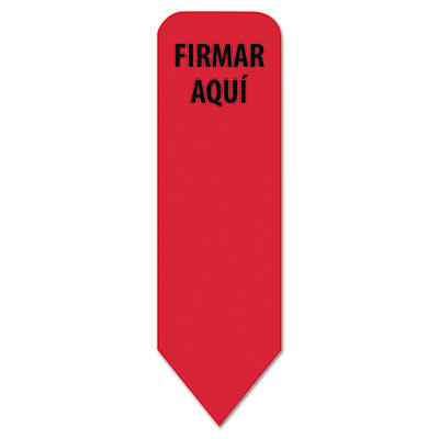 "Spanish arrow page flags roll dispenser refill, ""firmar aqui"", red, 120/pk, sold as 1 each"