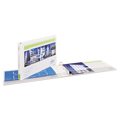 "11"" x 17"" heavy-duty view binders, locking 1-touch ezd rings, 1.5"" cap, white, sold as 1 each"
