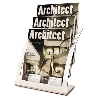 Three-tier magazine holder, 11-1/4w x 6-15/16d x 13-5/16h, silver, sold as 1 each