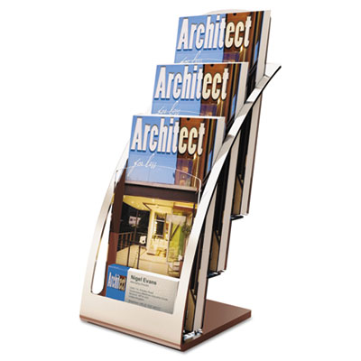 Three-tier leaflet holder, 6-3/4w x 6-15/16d x 13-5/16h, silver, sold as 1 each