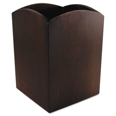 Bamboo curved pencil cup, 3 x 3  4 1/4, espresso brown, sold as 1 each