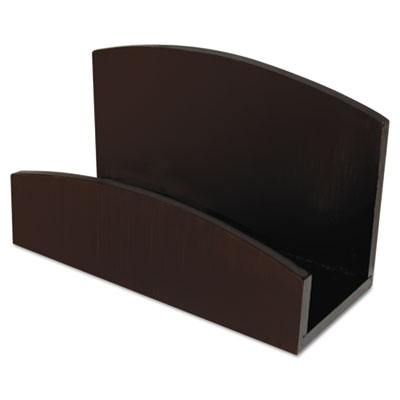 Eco-friendly bamboo curves business card holder, capacity 50 cards, espresso, sold as 1 each