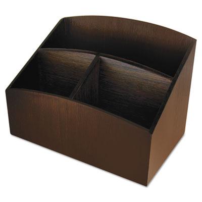 Eco-friendly bamboo curves desk organizer, 7 1/4 x 4 3/4 x 5 1/4, espresso, sold as 1 each