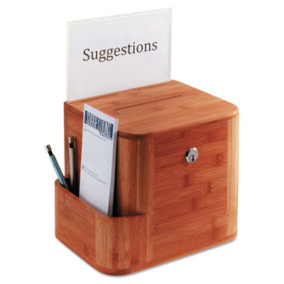 Bamboo suggestion box, 10 x 8 x 14, cherry, sold as 1 each