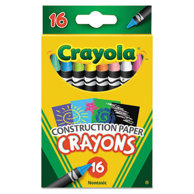 Construction paper crayons, wax, 16/pk, sold as 1 set