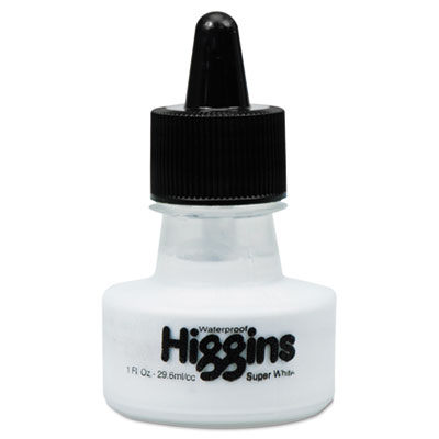 Waterproof pigmented drawing ink, white, 1oz bottle, sold as 1 each