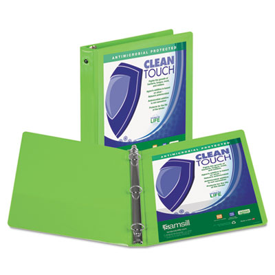 "Clean touch round ring view binder with antimicrobial protection, 3"", lime, sold as 1 each"