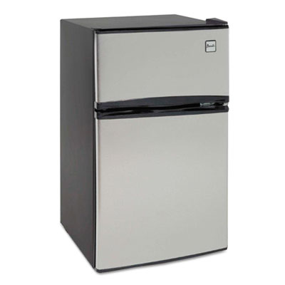 Counter-height 3.1 cu. ft two-door refrigerator/freezer, black/stainless steel, sold as 1 each