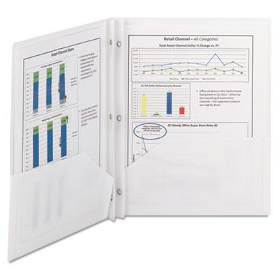 Poly two-pocket folder w/fasteners, 11 x 8 1/2, white, 25/box, sold as 1 box, 25 each per box