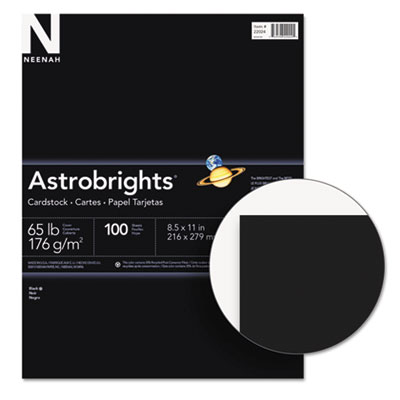 Astrobrights colored card stock, 65 lb., 8-1/2 x 11, eclipse black, 100 sheets, sold as 1 package