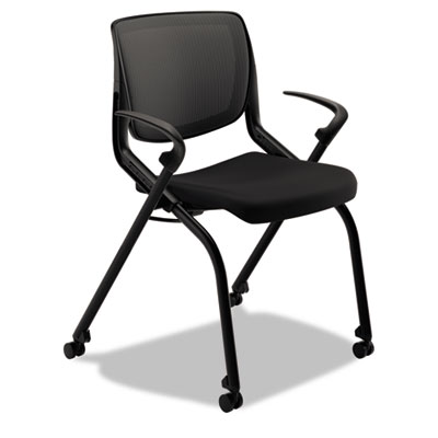 Motivate seating nesting/stacking flex-back chair, black/onyx/black, sold as 1 each