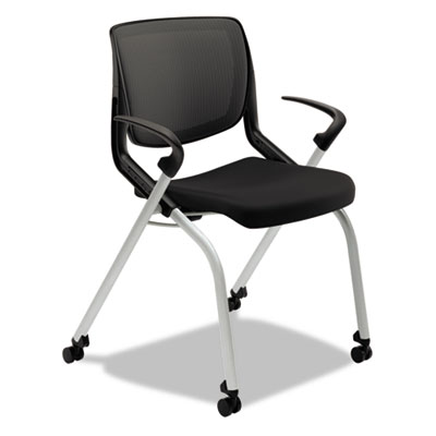 Motivate seating nesting/stacking flex-back chair, black/onyx/platinum, sold as 1 each