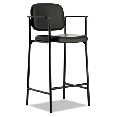 Vl636 series caf?-height stool, leather, black back/seat, 2/carton, sold as 1 carton, 2 each per carton