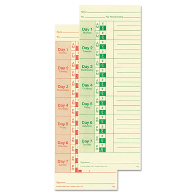 Universal time card, side print, 3 1/2 x 9, bi-weekly/weekly, 2-sided 100/pack, sold as 1 package