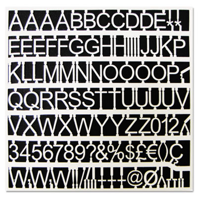 """White plastic set of letters, numbers & symbols, uppercase, 1"""" dia., sold as 1 set"""