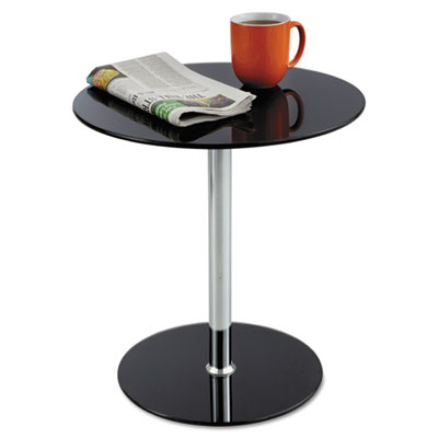 "Glass accent table, tempered glass/steel, 17"" dia. x 19"" high, black/silver, sold as 1 each"