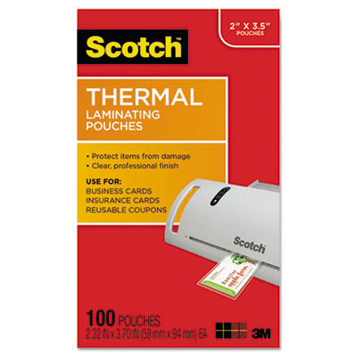 Business card size thermal laminating pouches, 5 mil, 3 3/4 x 2 3/8, 100/pack, sold as 1 package